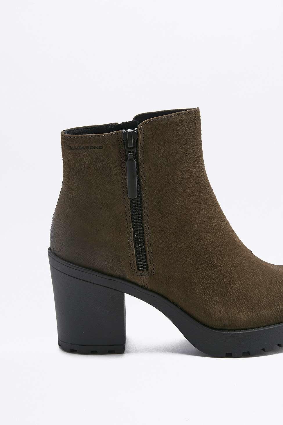 Vagabond Grace Green Side Zip Ankle Boots