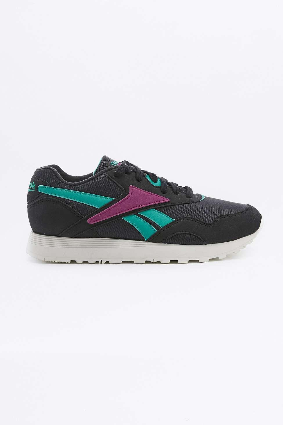 Reebok Synthetic Classic Green And Purple Black Nylon Trainers