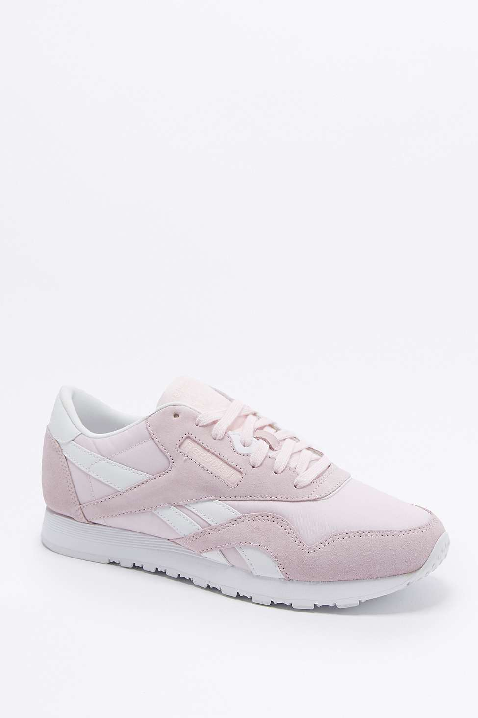 lyst reebok classic pink nylon trainers in pink. Black Bedroom Furniture Sets. Home Design Ideas