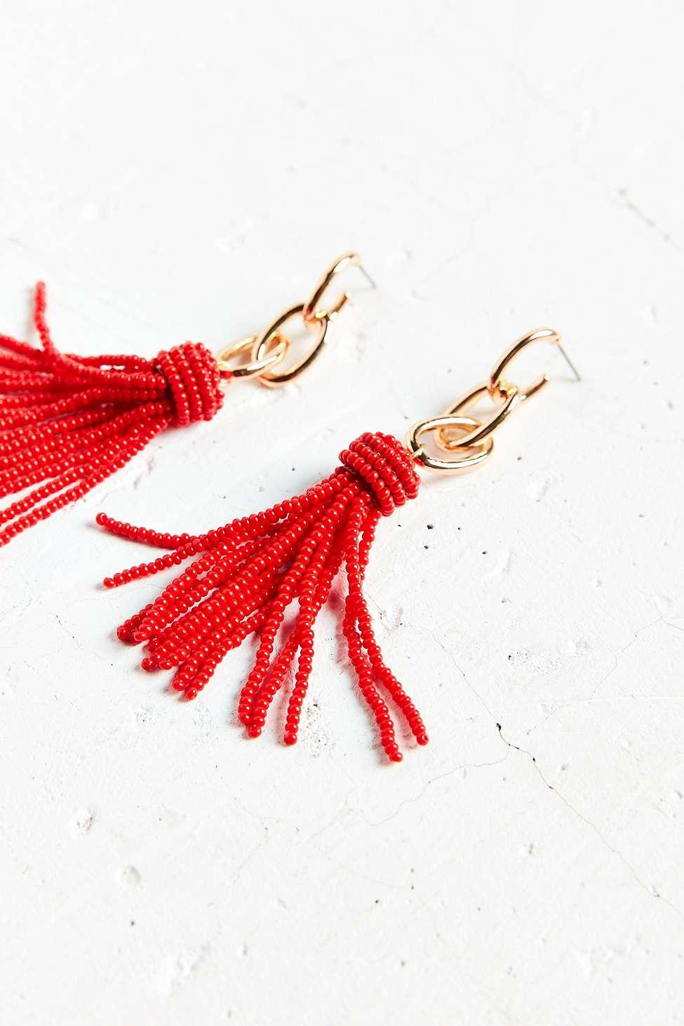 Urban Outfitters Synthetic Yara Chain Tassel Statement Earring in Red