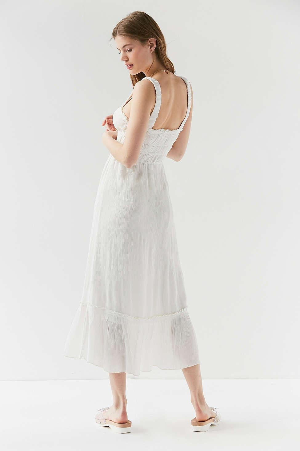 aaf2052dce4 Urban Outfitters White Uo Ophelia Ruffle Hem Midi Dress