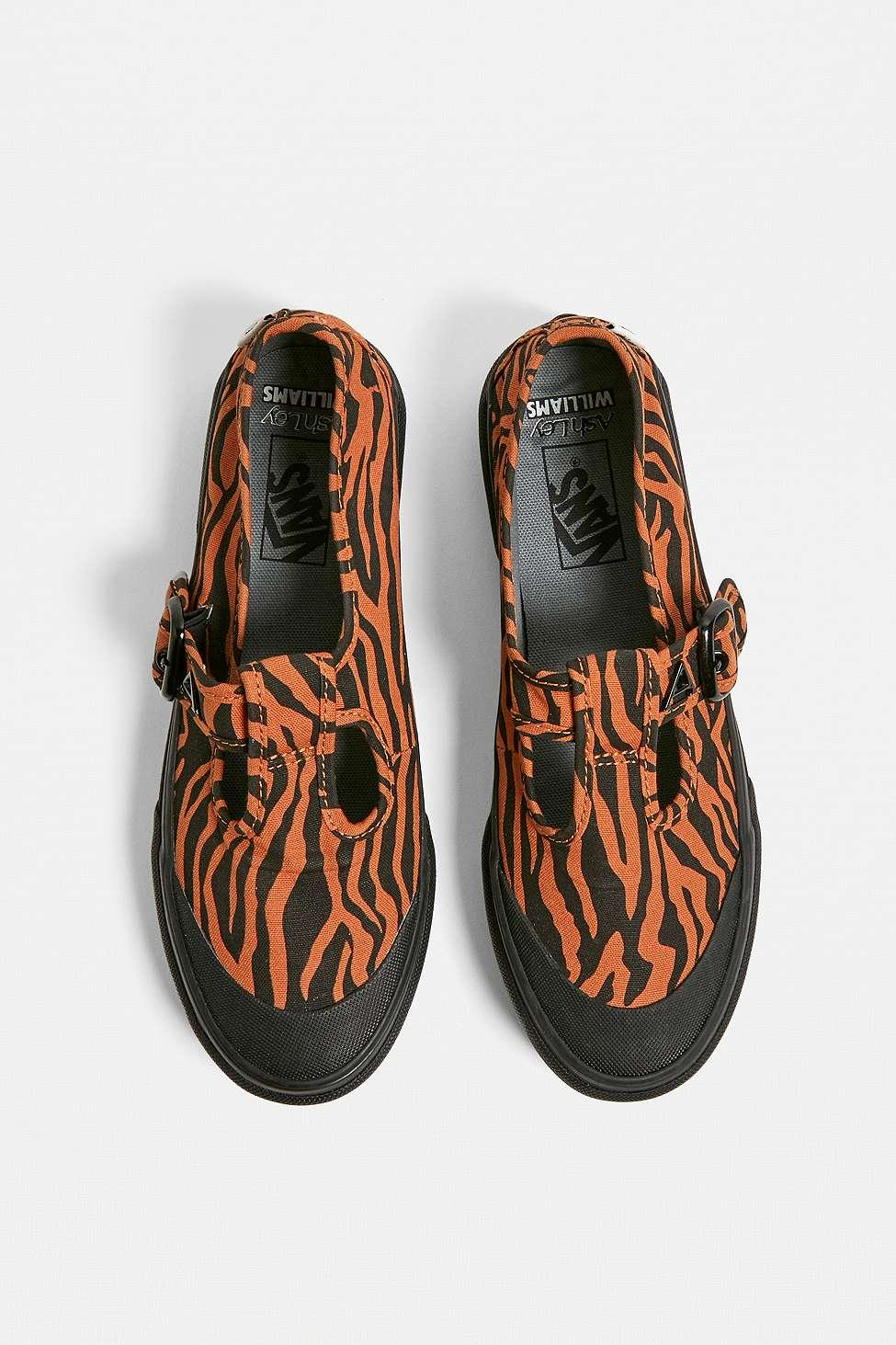 16c72be0705 Vans X Ashley Williams Ua 93 Tiger Print Mary Jane Trainers in Black ...