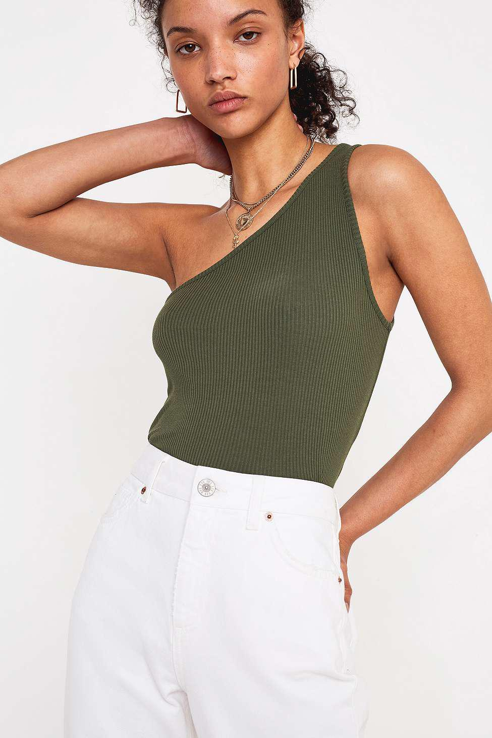 Urban Outfitters Uo Asymmetric Rib Cami - Womens Xs in Green - Lyst d0cf7cfd4