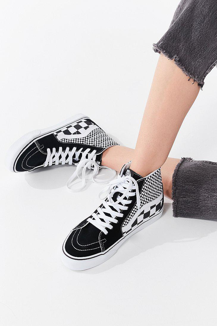 Lyst - Vans Vans Mix Checkerboard Sk8-hi Sneaker in Black 7bd1f2b86