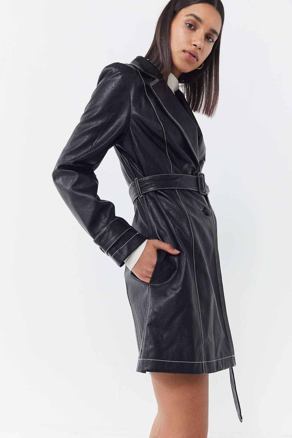 286cb572de0c Lyst - Urban Outfitters Uo Irina Faux Leather Trench Coat in Black