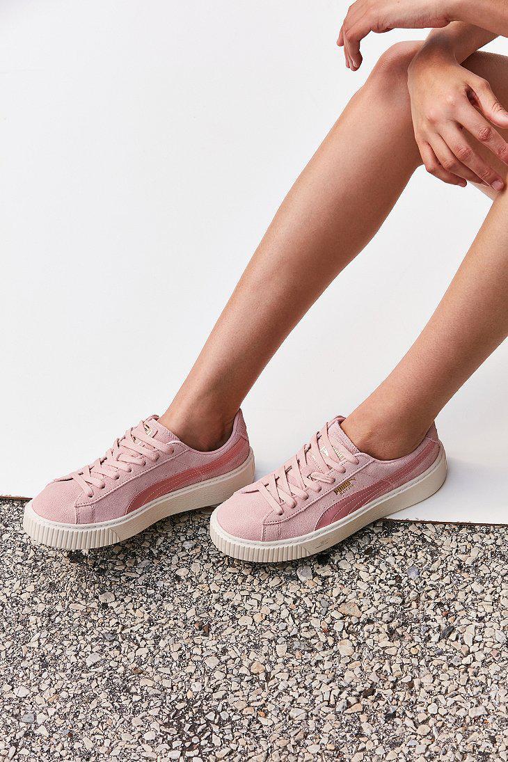 size 40 ca4b3 540d5 PUMA Pink Suede Summer Satin Platform Sneaker