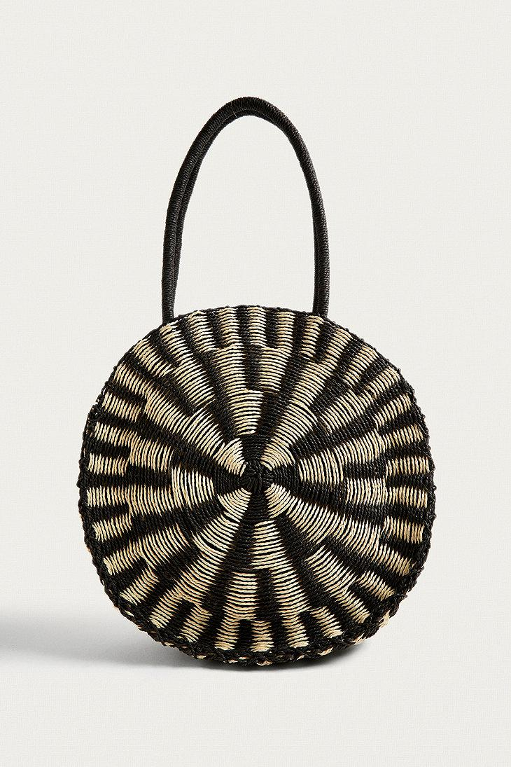 Urban Outfitters Uo Black And White Straw Tote Bag
