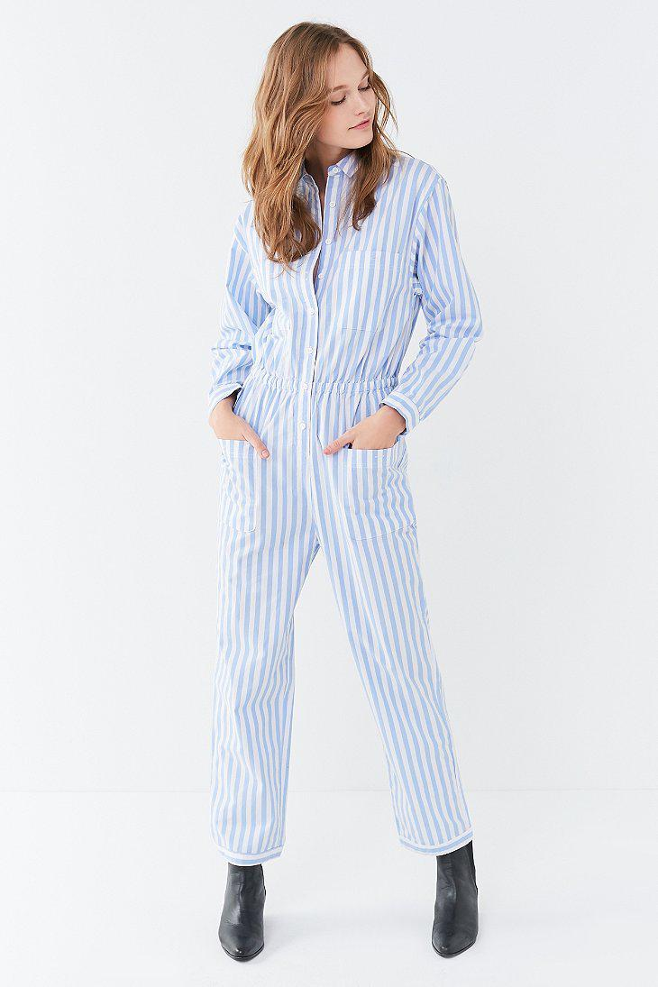 Lyst Urban Outfitters Uo Jacey Striped Utility Jumpsuit In Blue
