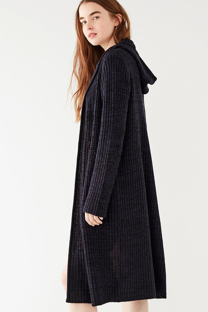 Urban outfitters Uo Ribbed Knit Hooded Maxi Cardigan in Black | Lyst