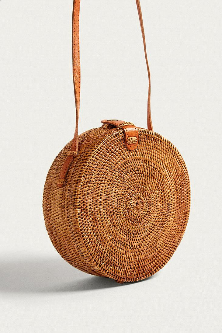 Urban Outfitters Leather Circle Straw Crossbody Bag in Brown