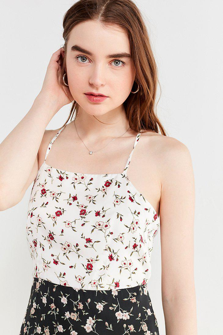 3d7bdab08d Urban Outfitters Black Uo Mixed-print Floral Slip Dress