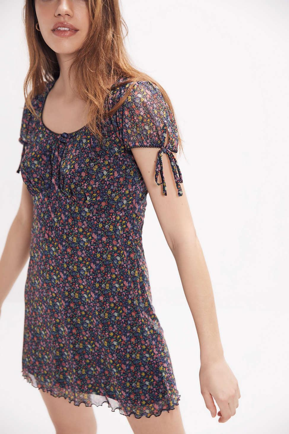 cd00b36b4c31c Urban Outfitters Uo Effie Ditsy Floral Mesh Mini Dress - Womens Xs ...