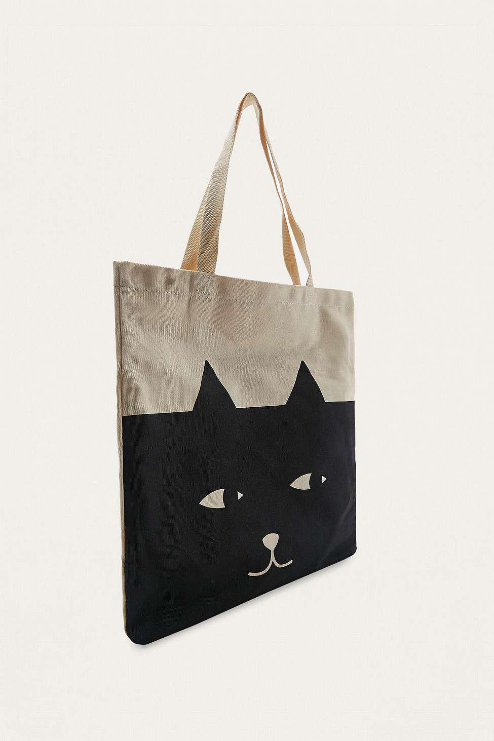 Urban Outfitters Cat Face Canvas Tote Bag in Beige (Natural)