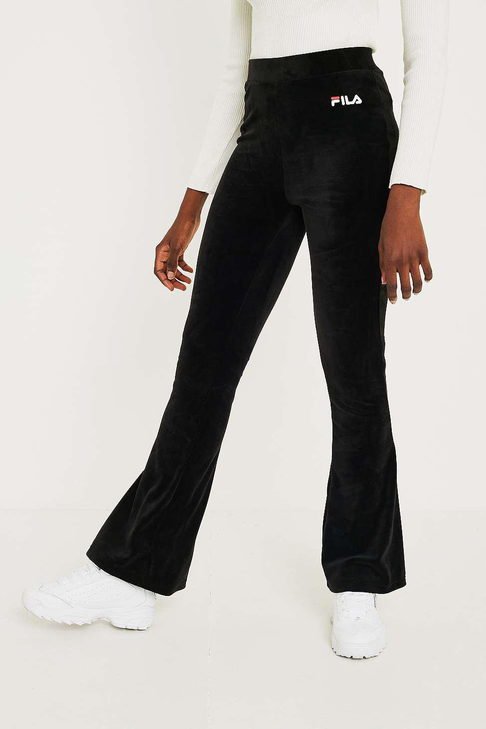 eaeaa77659ec Fila Tonia Velour Flare Track Pants - Womens L in Black - Lyst