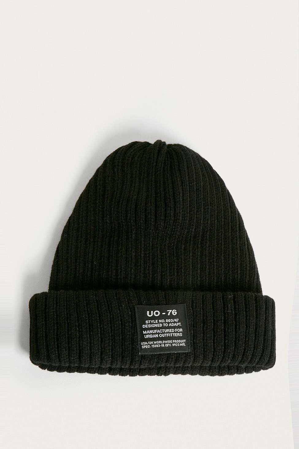 8b2a1b4ef Urban Outfitters Uo Black Ribbed Beanie - Mens All in Black for Men ...