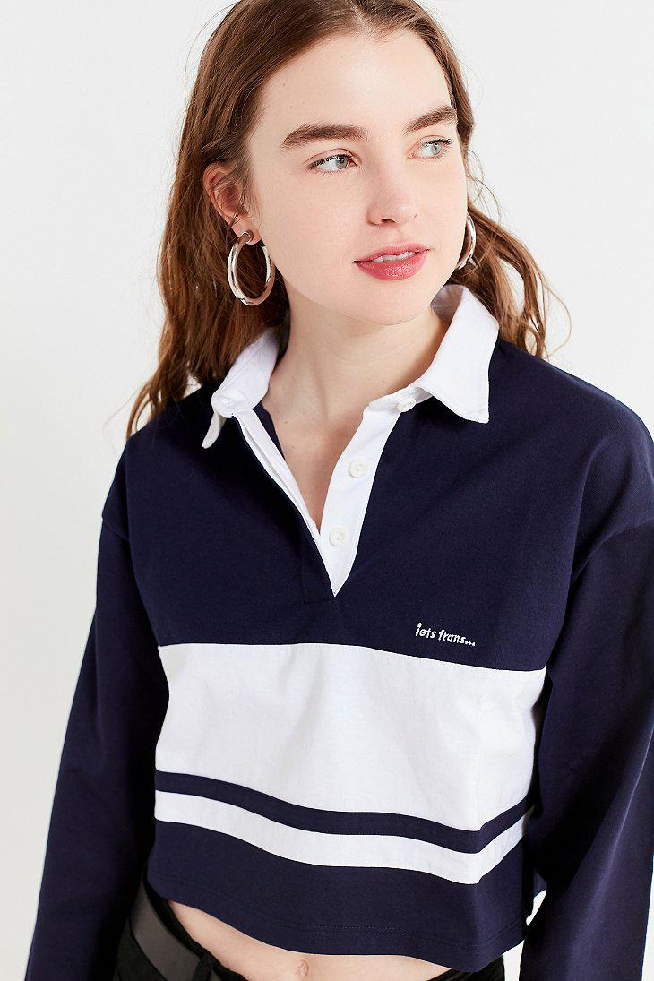 6280c88c93053 Lyst - Urban Outfitters Uo Long Sleeve Cropped Striped Polo Shirt in ...