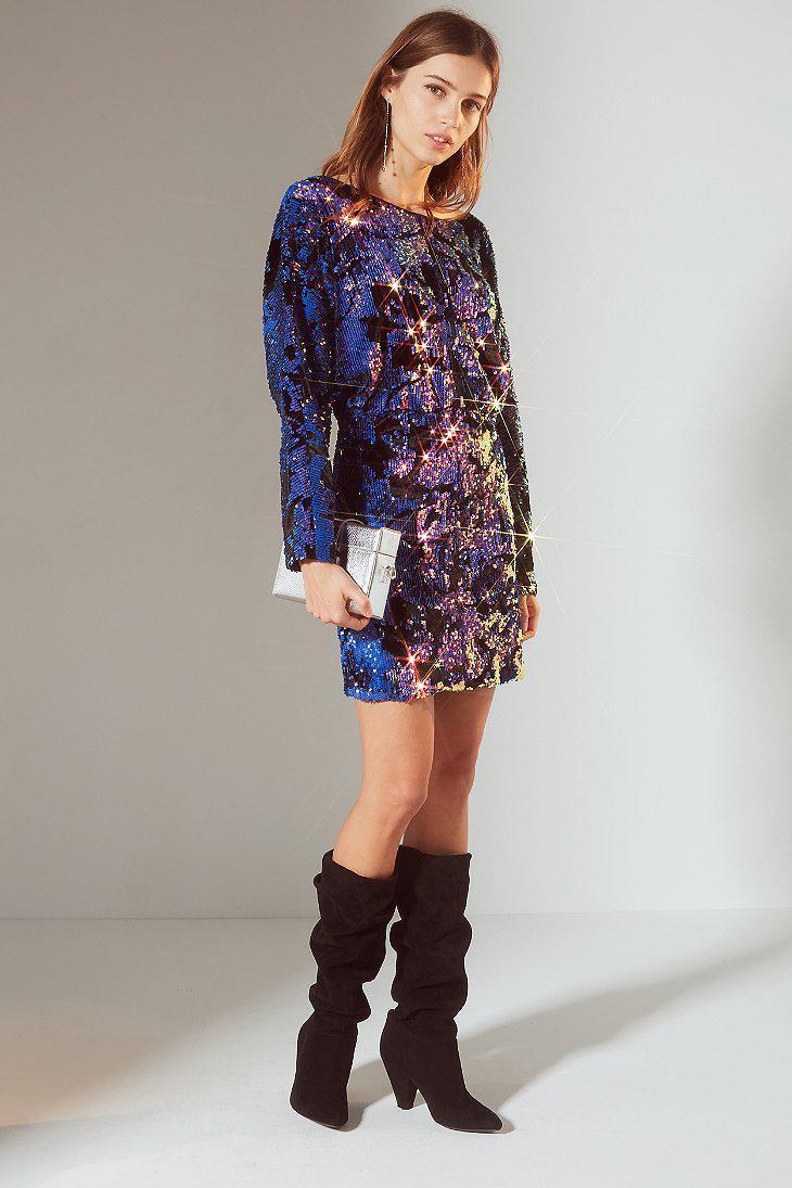 Urban Outfitters Uo Magic Velvet Sequin Mini Dress In