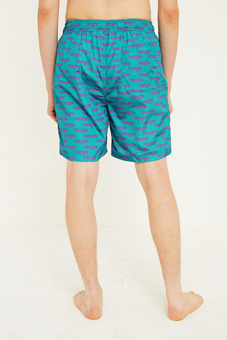 86de2bac98a37 Wrangler '80s Swim Shorts in Blue for Men - Lyst