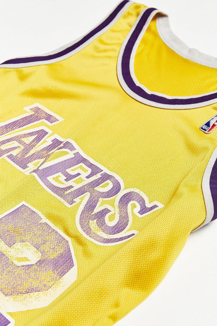 the best attitude e5ac3 72c0b Urban Outfitters Yellow Vintage Champion Magic Johnson Los Angeles Lakers  Basketball Jersey for men