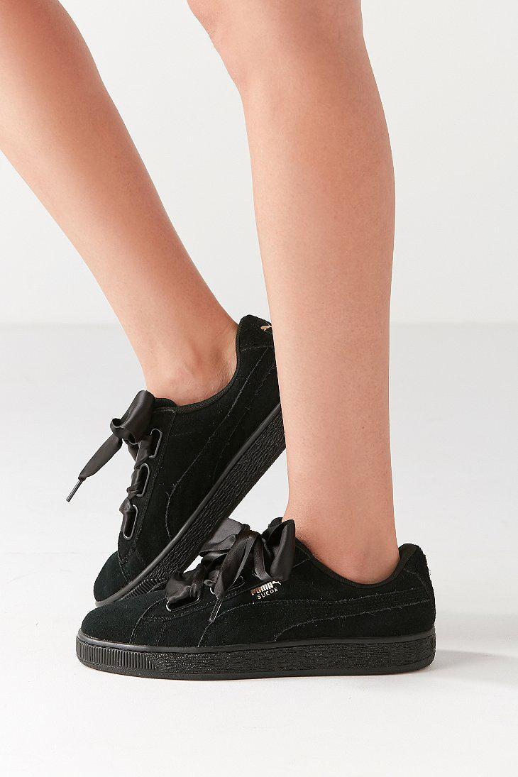 best cheap b48cb c82c7 PUMA Black Suede Heart Satin Ii Sneaker