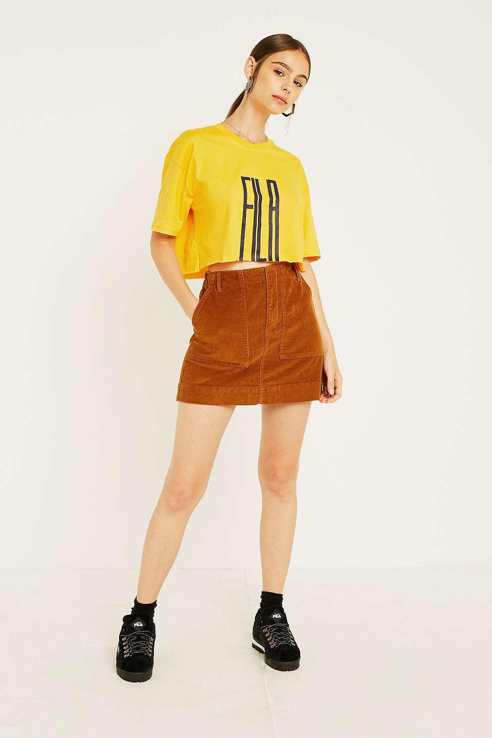 51dc5d65e Fila Domenica Crop T-shirt in Yellow - Lyst