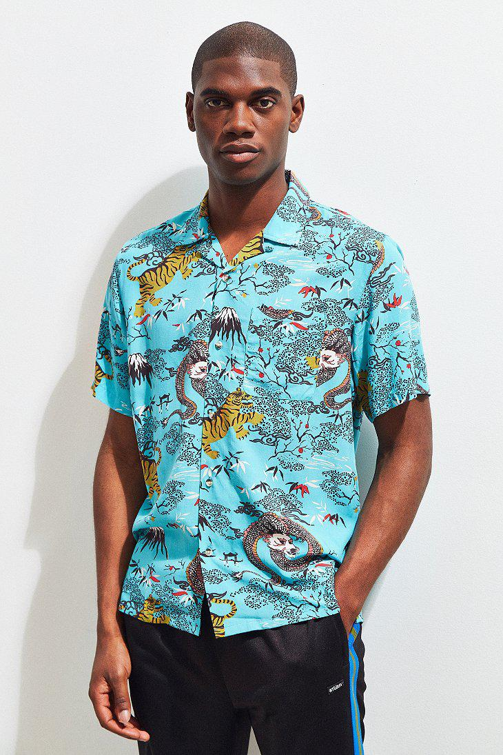 64e50c035 Urban Outfitters Uo Dragon Rayon Short Sleeve Button-down Shirt in ...