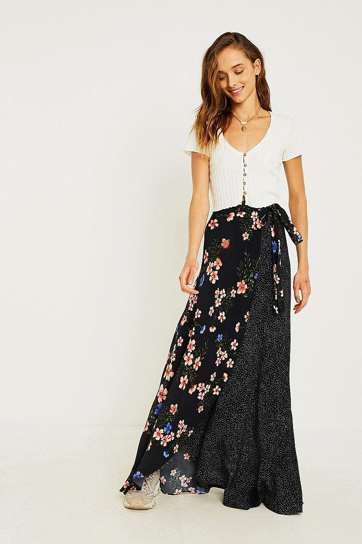 764d9b0d4 Urban Outfitters Uo Multi-print Wrap Maxi Skirt in Blue - Lyst