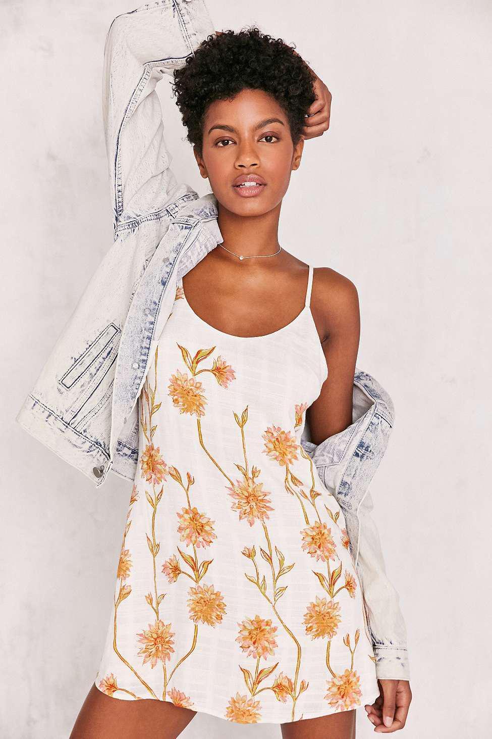 3565846b54e83 Kimchi Blue Cambridge Floral Dobby Slip Dress - Womens Xs in Natural ...