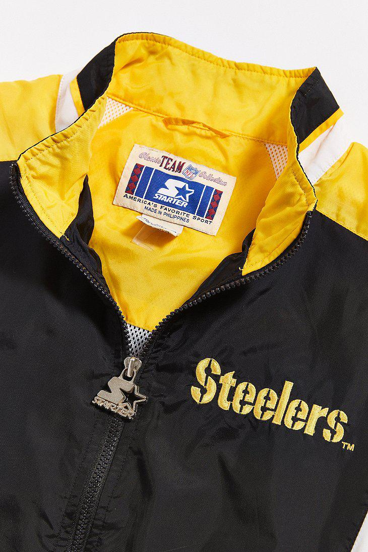 sale retailer 00e18 f4b44 Men's Black Vintage Starter Pittsburgh Steelers Coach Jacket