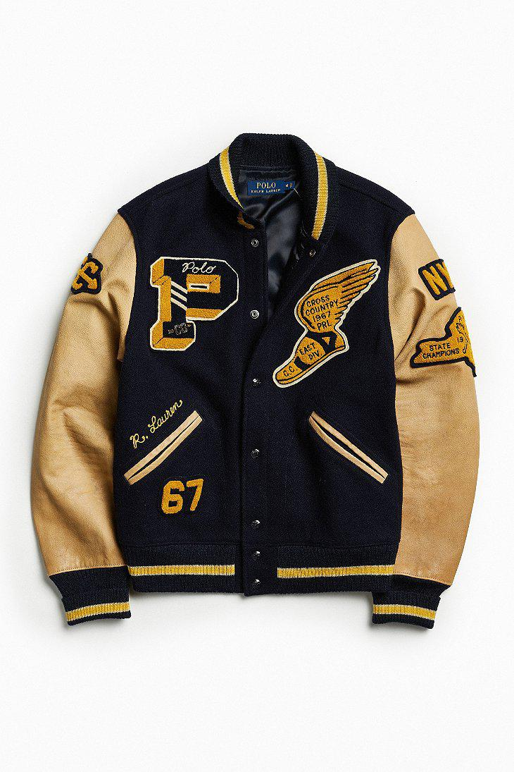 Polo Ralph Lauren Wool Varsity Bomber Jacket in Blue for