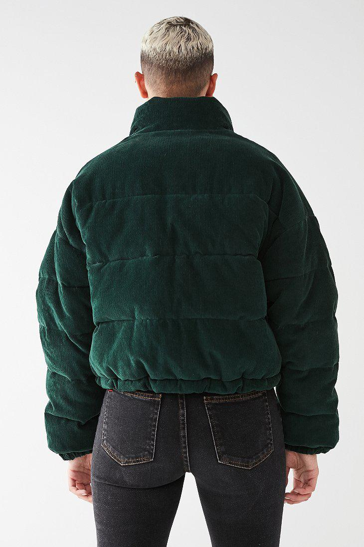 Urban Outfitters Uo Corduroy Puffer Jacket in Dark Green ...