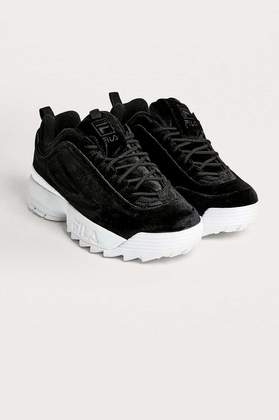 fila disruptor ii black trainers