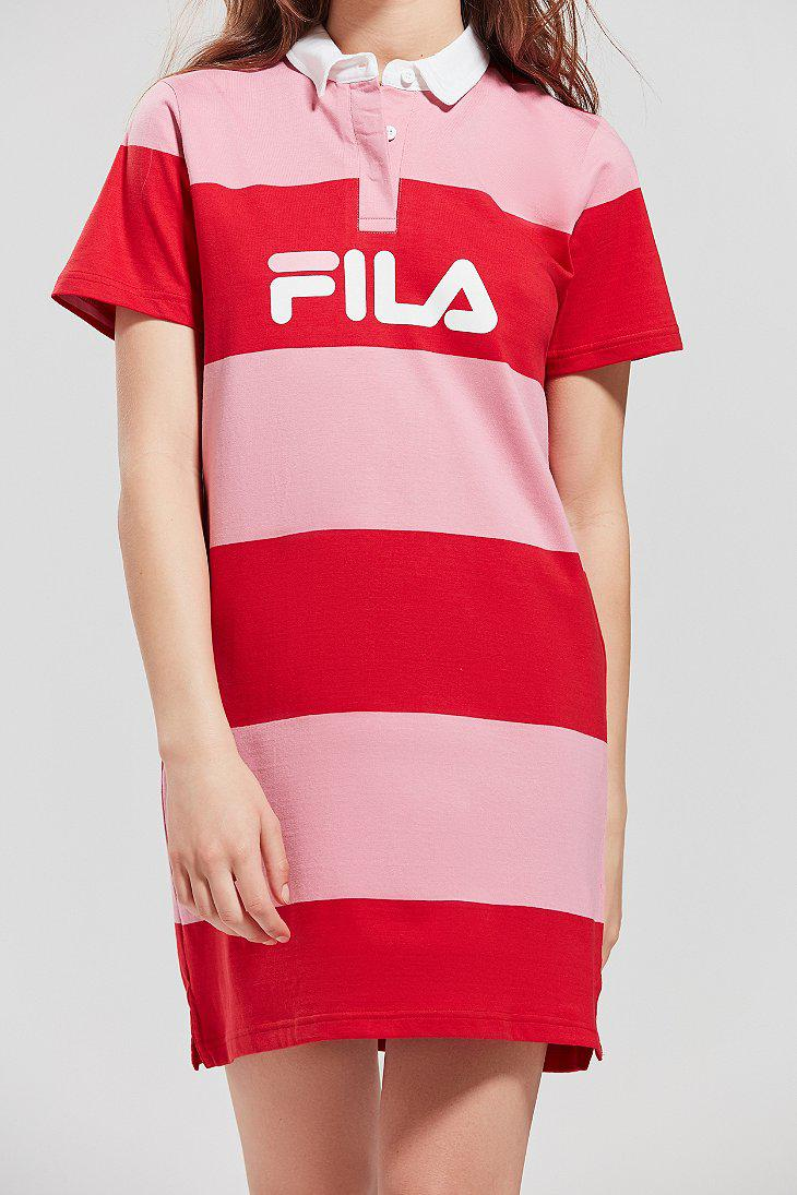 fccc863709772 Fila Sylvia Pink Rugby Striped Shirt Dress - Womens L in Pink - Lyst