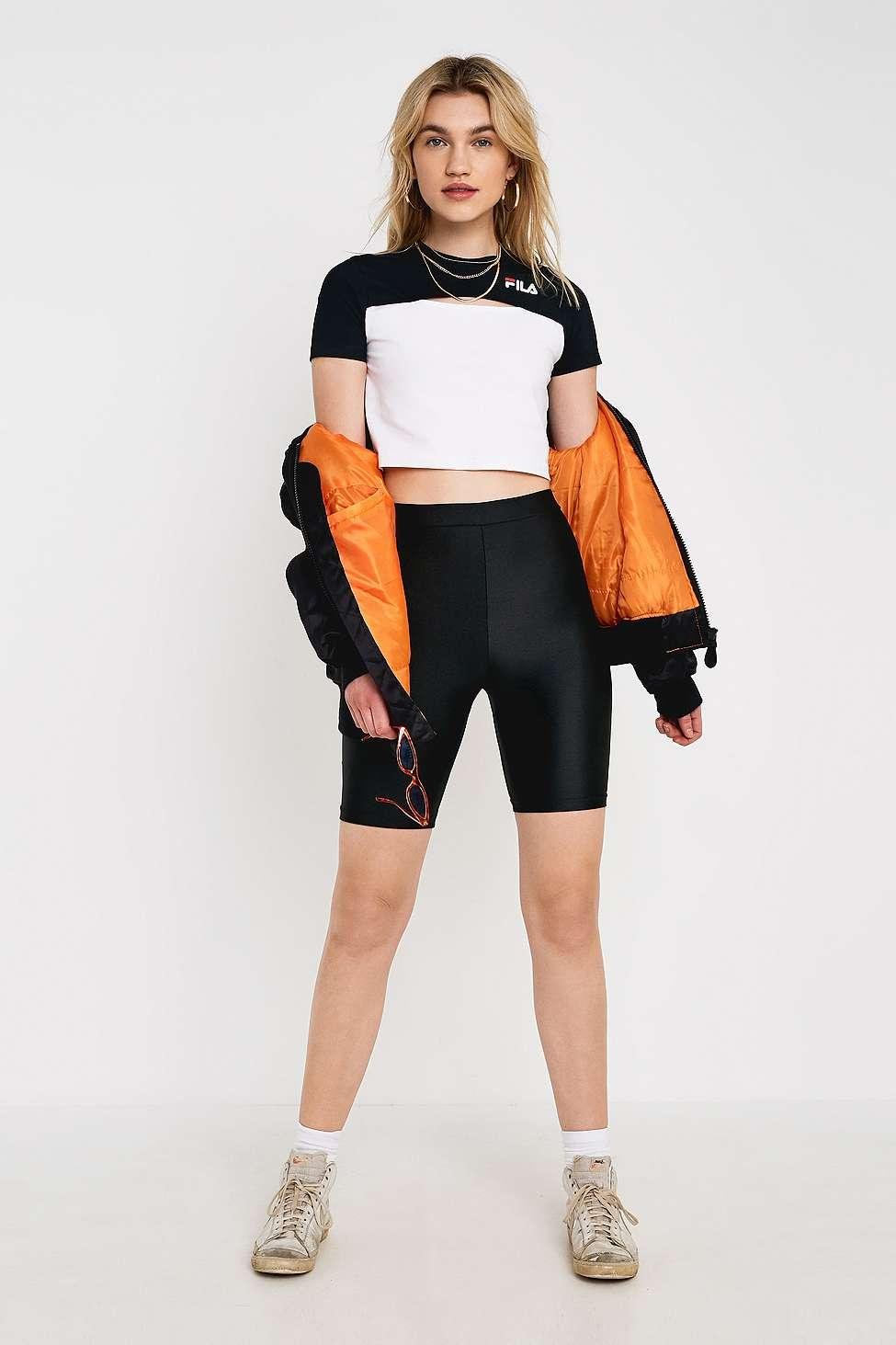22386b99a23 Fila Keyhole Crop T-shirt - Womens L in Black - Lyst