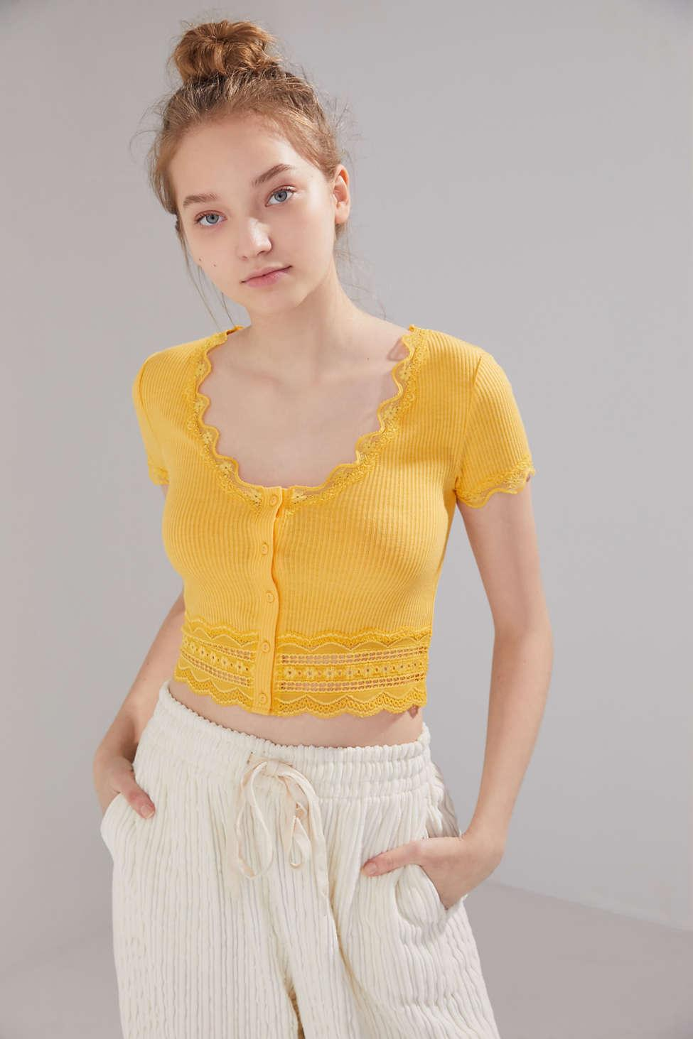 9ed5d91f6a Urban Outfitters - Yellow Uo Darcy Lace Trim Button-up Cropped Top - Lyst.  View fullscreen