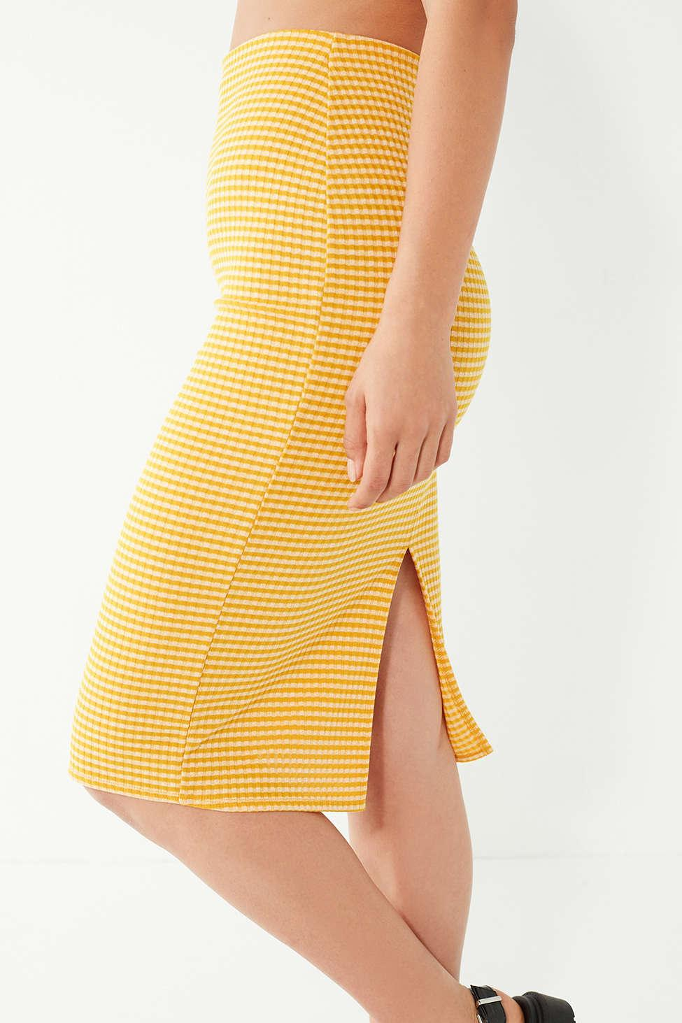 2dfb0a5ba Urban Outfitters Uo Truce Gingham Midi Skirt in Yellow - Lyst