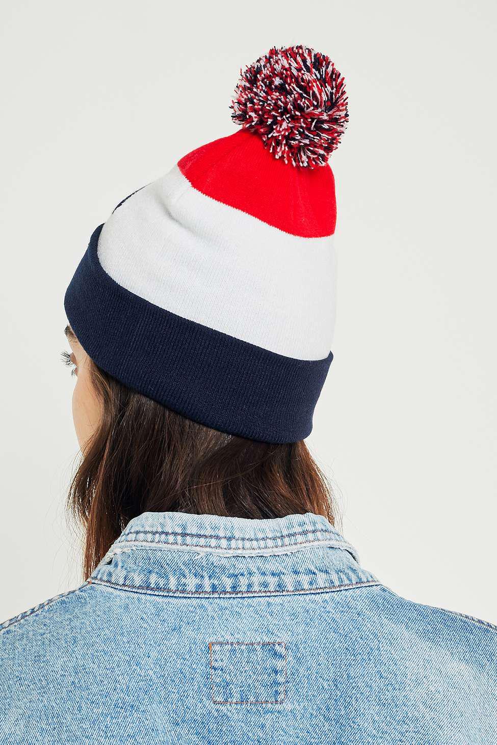 6c86d31fb52 Fila Striped Pom Pom Ski Beanie - Womens All in Blue - Lyst