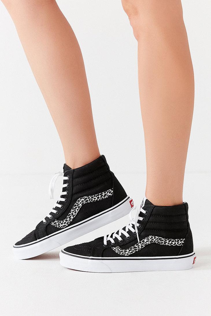 Vans Canvas Vans Mini Leopard Sk8-hi Reissue Sneaker in Black