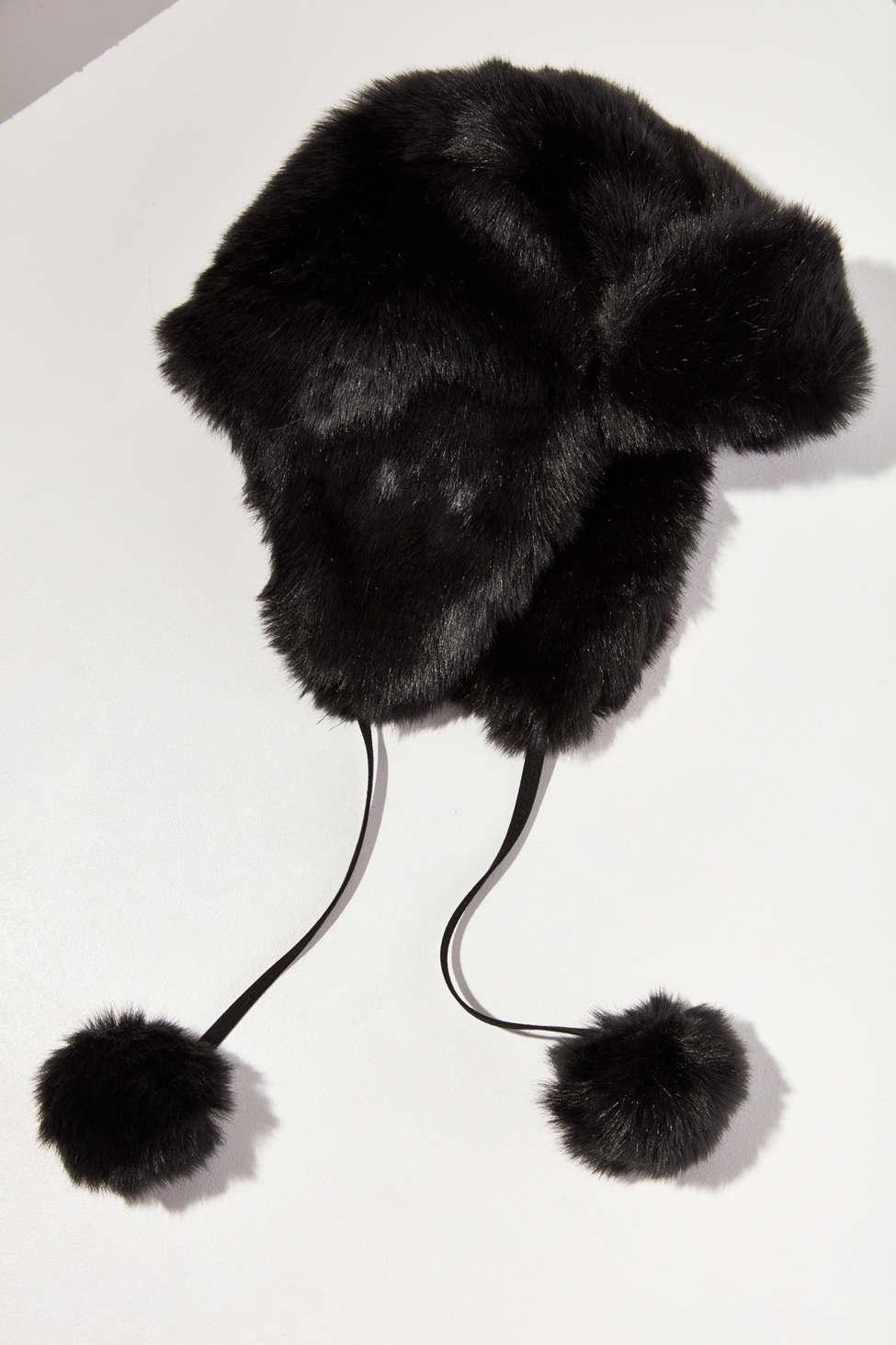235baf3a7 Urban Outfitters Black Fuzzy Faux Fur Trapper Hat