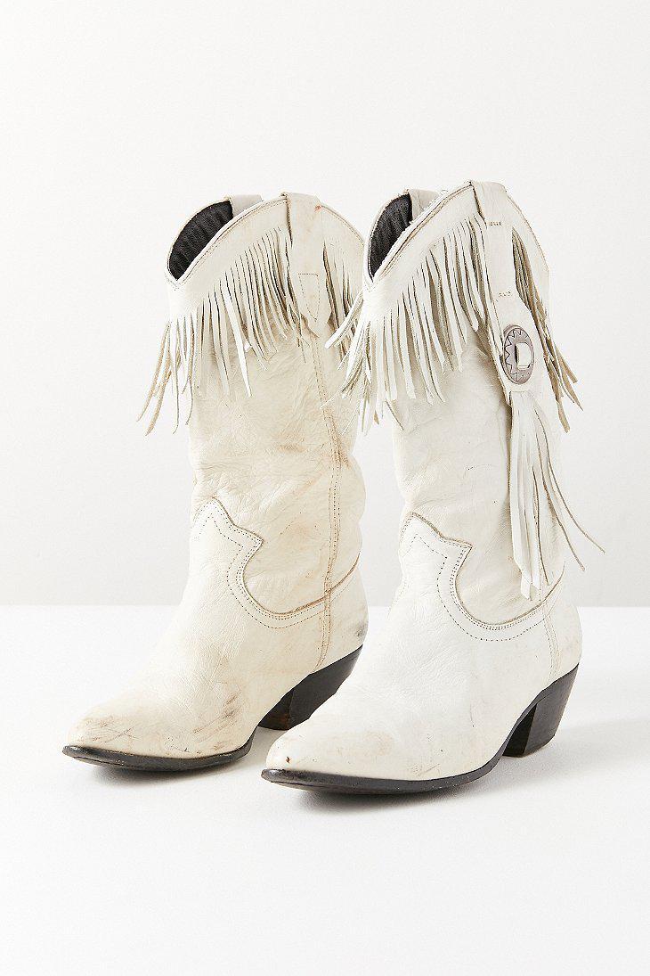 White Fringe Cowboy Boot - Lyst