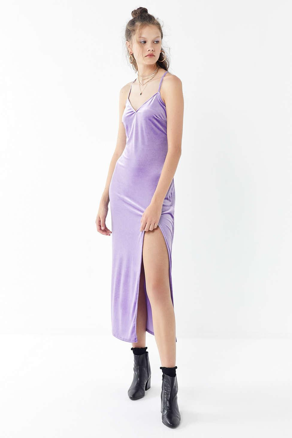75b4cccaf50 Urban Outfitters Uo Velvet Cross-back Maxi Dress in Purple - Lyst