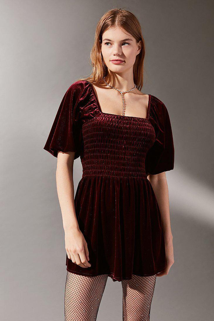 Urban Outfitters Uo Patsy Smocked Velvet Romper in Black ...