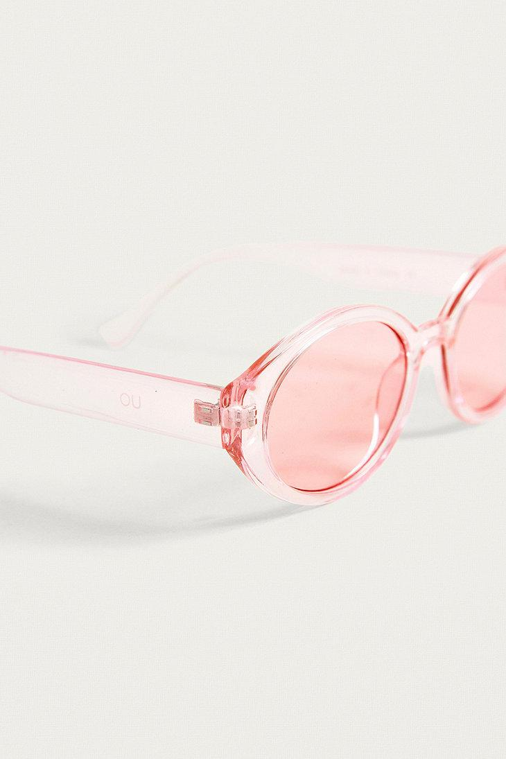 Urban Outfitters Squashed Oval Sunglasses in Pink