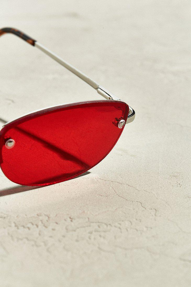 c647eefab82 Lyst - Urban Outfitters Rimless Rounded Rectangle Sunglasses in ...