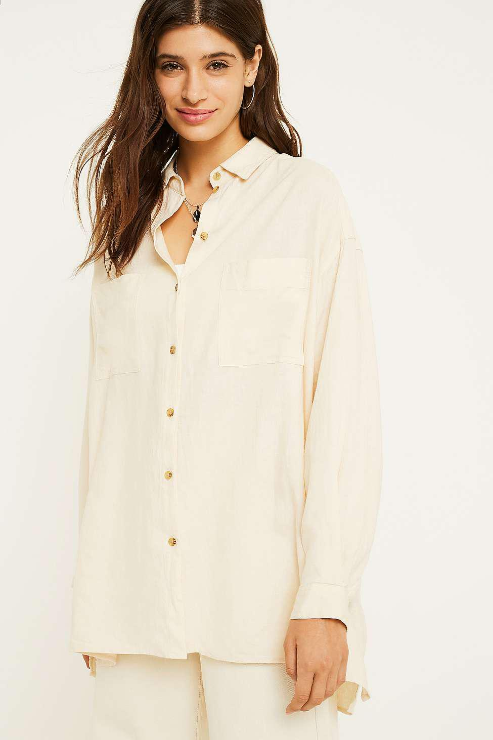Urban Outfitters Uo Oversized Linen Shirt - Womens L in White
