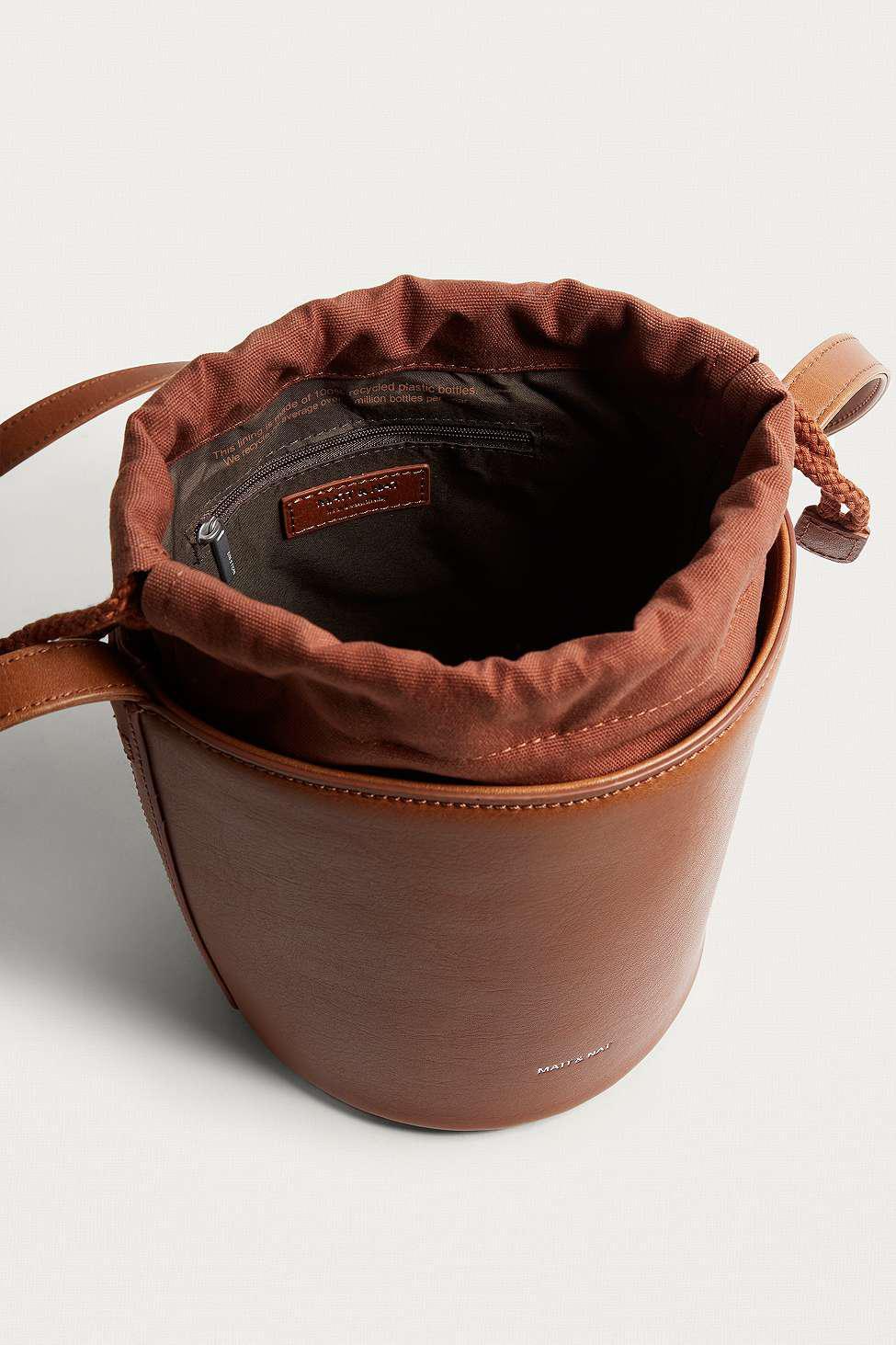 Matt & Nat Leather Bini Chili Bucket Crossbody in Brown