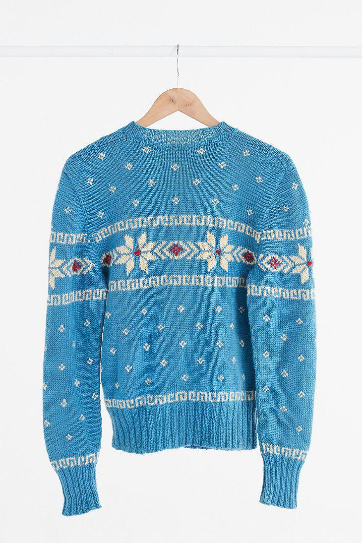 Urban outfitters Vintage Turquoise Fair Isle Ski Sweater in Blue ...