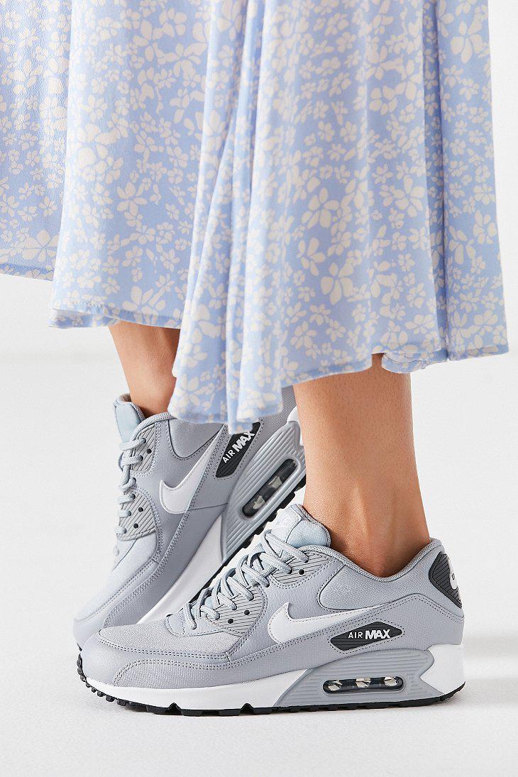 Nike Leather Nike Air Max 90 Mesh Sneaker in Grey (Gray) - Lyst