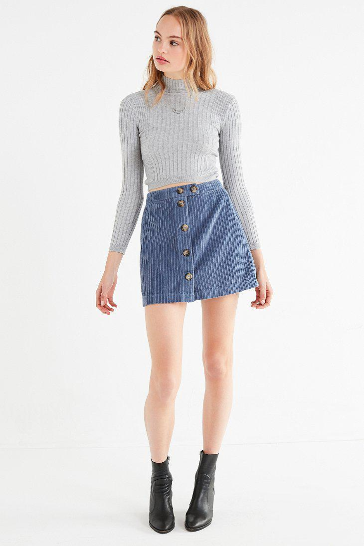 e2a2e49383fa Urban Outfitters Uo Jumbo Corduroy Button-down Mini Skirt in Blue - Lyst