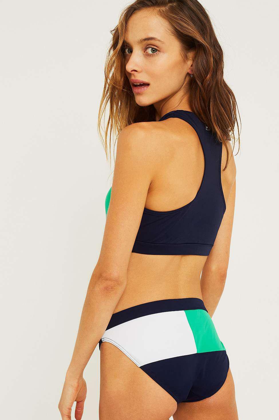074fd146 Tommy Hilfiger Navy And Green Colour Block Bikini Bottoms - Womens M ...